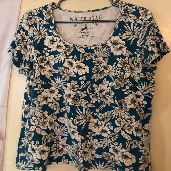 Tops - Blue and white floral shirt